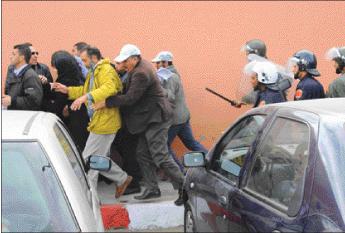 الهجوم على متظاهري حركة 20 فبراير بمراكش