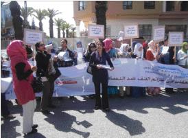 الرابطة الديمقراطية لحقوق المرأة بمراكش تحتج