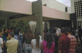 الطلاب في وقفة احتجاجية