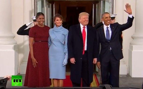فيديو .. أوباما يستقبل ترامب في البيت الأبيض قبل قليل في يوم تنصيبه
