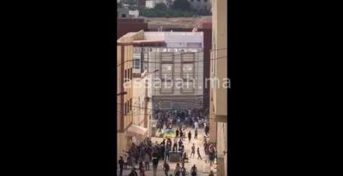 فيديو .. جانب من اشتباكات إمزورن بين الأمن ومحتجين