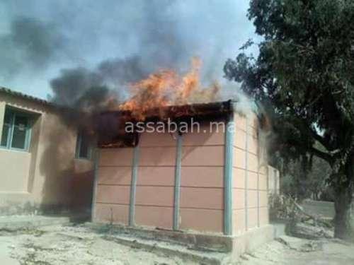 النيران تلتهم مدرسة ببرشيد