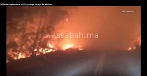 فيديو مرعب من داخل حرائق الغابات بكاليفورنيا