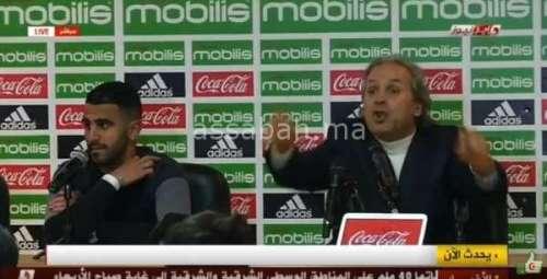 فيديو .. مدرب الجزائر رابح مادجر يهاجم صحافيا بقوة